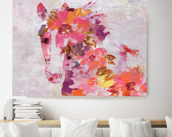 Vivid Floral Horse, BOHO Horse. Floral Horse Art Large Canvas, BOHEMIAN PAINTING Red Painted Horse Boho Wall Art, Floral Horse Canvas Print