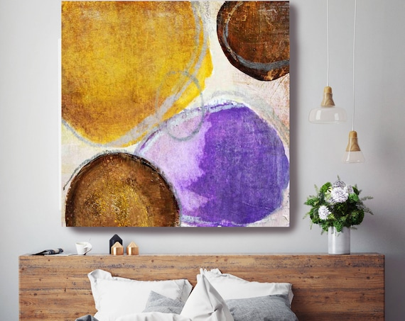 "ORL-2880-4 Setting Sun I. Brown Purple Yellow Extra Large Abstract Colorful Contemporary Canvas Art Print up to 48"" by Irena Orlov"
