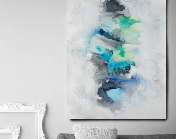 """Milky Way, Watercolor Abstract Blue Gray Black Canvas Art Print, Watercolor Painting Print up to 72"""" by Irena Orlov"""
