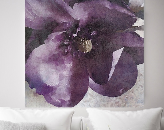 Purple Spring Rhapsody. Purple Rustic Floral Painting, Rustic Large Floral Canvas Art Print, Vintage Floral Painting Canvas Art Print