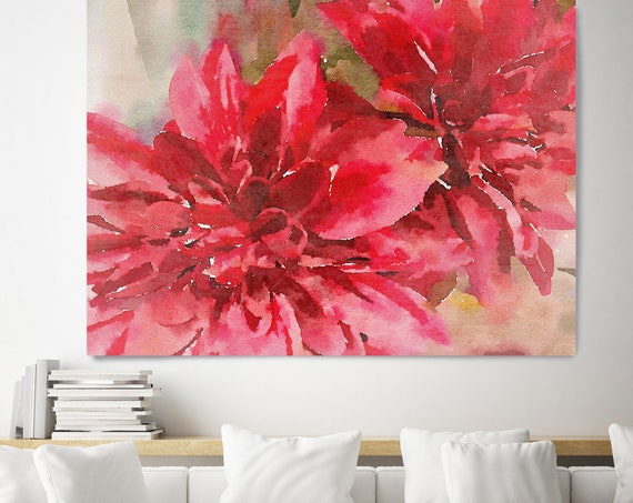 "Red Watercolor Flowers. Floral Painting, Red Abstract Art, Large Abstract Colorful Contemporary Canvas Art Print up to 72"" by Irena Orlov"