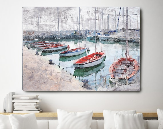 "Newport  Marina, Beach Decor, Rustic Seascape, Coastal Wall Canvas Art, Grey Red & White, Sea Canvas Print 80"" by Irena Orlov"