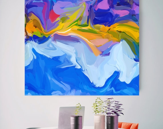 Absolute Joy, original art abstract art acrylic painting, Blue Yellow canvas painting, extra large wall art, original painting, canvas print