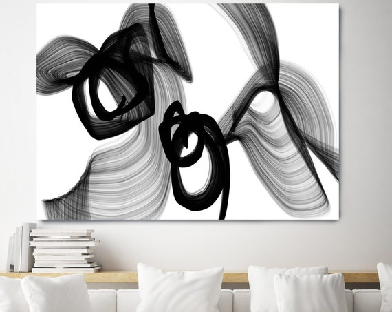 Black and White Art | Abstract Wall Art | Abstract Painting | Modern Wall Decor | Neutral Wall Art | Black White Modern Art Canvas Print