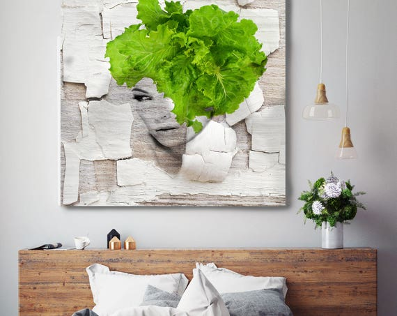 "Eco Green Beauty. Figurative Green Contemporary Painting Canvas Print, Extra Large Canvas Art Print up to 48"" by Irena Orlov"