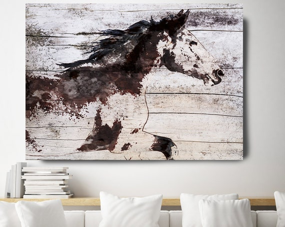 Horse Painting Brown Minimalist Horse Wall Art, Wild Running Horse, Horse Painting, Horse Race Horse Canvas Print Farmhouse Art Rustic Horse