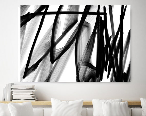 "The Wind. 40H x 60W"" Original New Media Abstract Black White Painting on Canvas, Unique, Minimalist Large Abstract Painting, INVEST IN ART"