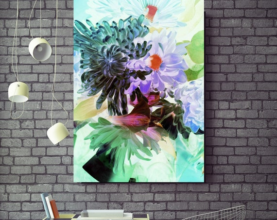 "Sparkling Flowers. Floral Painting, Purple Green Abstract Art Large Abstract Colorful Floral Canvas Art Print up to 72"" by Irena Orlov"