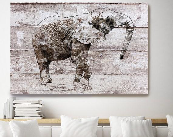 Brown Rustic Elephant, Elephant Canvas ART PRINT, elephant print, elephant painting, elephant decor, elephant portrait, animal portrait