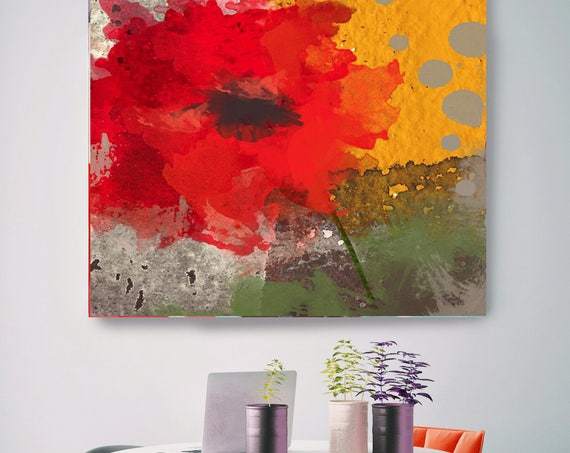 "Exclusive. Rustic Red Green Yellow Floral Canvas Art Print, Red Green Yellow Rustic Modern Huge Canvas Art Print up to 48"" by Irena Orlov"