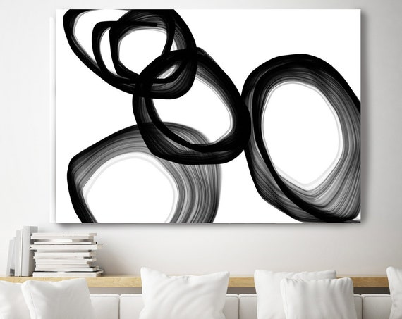"Expression. 40H x 60W"" Original New Media Abstract Black White Painting on Canvas, Unique, Minimalist Large Abstract Painting, INVEST IN ART"