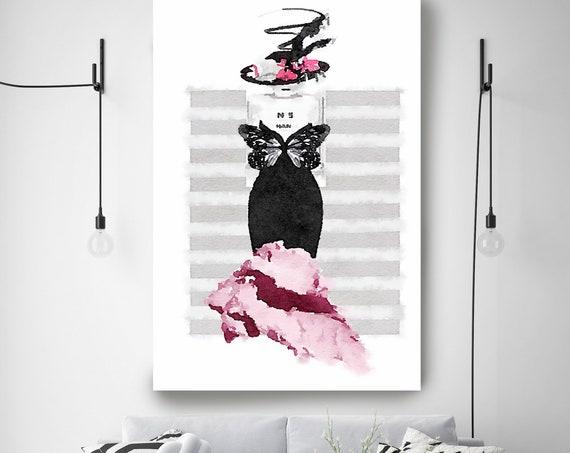 Fashion Wall Art, Fashion Wall Decor, Vanity Wall Art Canvas Print High Fashion Canvas Art, Fashion brand Watercolor