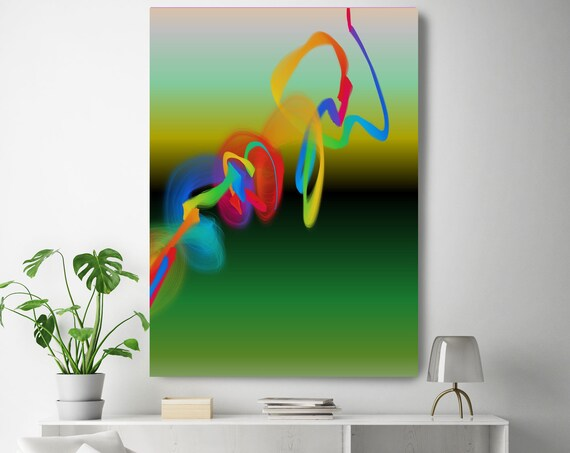 "Neon Storm of Creation 50 Neon New Media Art Red Green Abstract Canvas Print, Extra Large Abstract Canvas Print up to 90"" by Irena Orlov"