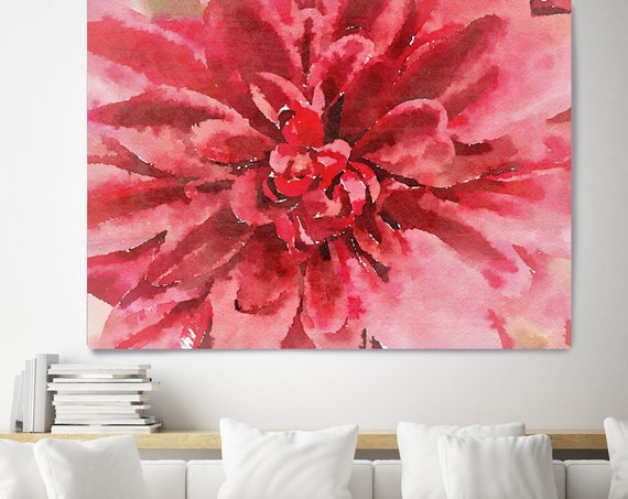 "Red Watercolor Flower. Floral Painting, Red Abstract Art, Large Abstract Colorful Contemporary Canvas Art Print up to 72"" by Irena Orlov"