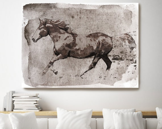 Brown Horse Running. Horse Painting Art Horse Home Decor Horse Canvas Horse Canvas Art Horse Poster Horse Print Horse Horse Wall Decor