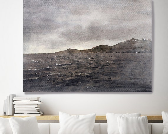 "Spring Storm Passing. Huge Rustic Seascape Painting Canvas Art Print, Large Brown Blue Canvas Art Print up to 80"" by Irena Orlov"