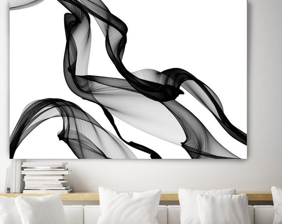 Extra Large Abstract Painting Black Wall Art, Black Modern Painting on Canvas, Minimal Art, Canvas Art Print, Oversized