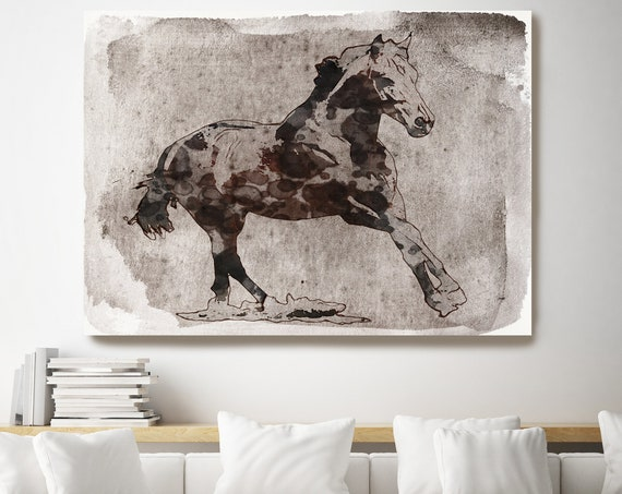Beautiful Horse Running. Horse Art Large Canvas, Horse Art, Brown Rustic Horse, Beautiful Equine Horse, Horse Painting Print on canvas