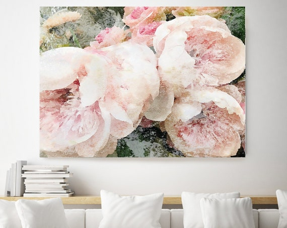 "Dreamy Shabby Chic Peony 3, Shabby Pink Peony, Shabby Chic Blush Peony Flower Hand Textured Canvas Art Print up to 72"" by Irena Orlov"