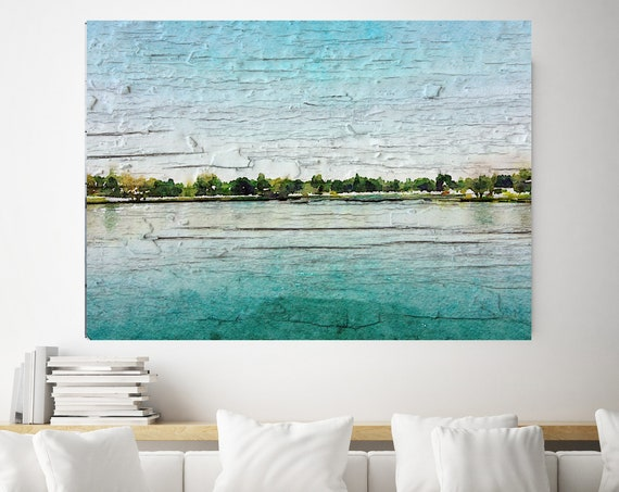 "Morning's soft air, Beach Decor Coastal Wall Canvas Art, Blue Turquoise & White, Sea Canvas Print 80"" by Irena Orlov"