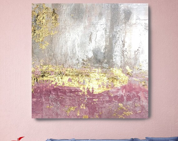 Gold Oldrose Silver Abstract Painting Gold art abstract painting wall art Extra Large Gold Silver Painting Extra Large Abstract Canvas Print