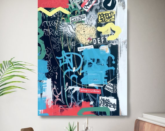 Graffiti Street Art, Colorful Street Art Painting Print on Canvas, Large Canvas Print, Graffiti Style Painting, Outside my door