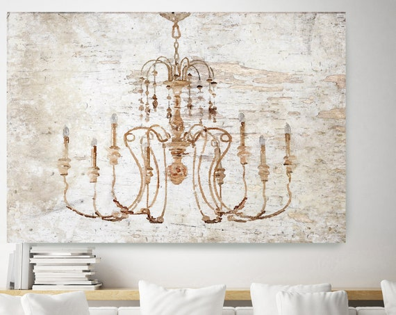 Rustic Chandelier, Chandelier painting, Shabby Chic chandelier, Brown Chandelier Canvas Print, Chandelier Wall Decor