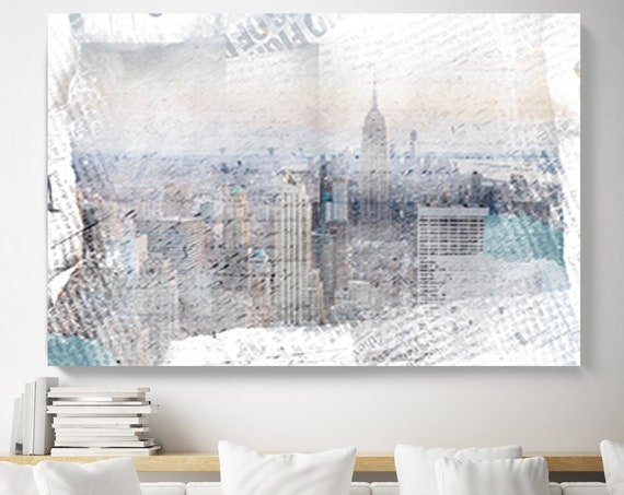 New York City Skyline NYC, Cityscape Painting, Blue Large Abstract Urban Painting Canvas Print, Urban New York, Office Art