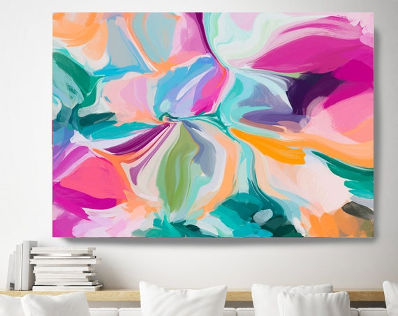 Modern Abstract Wall Art Decor, Abstract Vivid Painting Canvas Print, Abstract Colorful Flow Art, BOHO Wall Art for Home