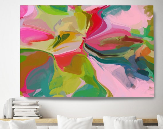 Home decor wall art. Colorful Abstract art. Boho Art. Oversized Art, Large Canvas Print. Energy Painting. The cause of peace.