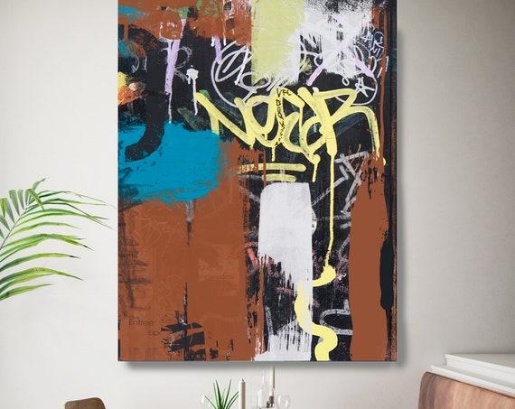 Graffiti Street Art Colorful Street Art Painting Print on Canvas, Large Canvas Print, Graffiti Style Painting, The Word On The Street 2