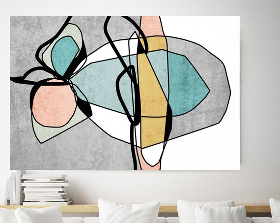 Teal Yellow Minimalist Abstract. Mid-Century Modern Colorful Canvas Art Print Scandinavian print Minimalist abstract Wall decor Midcentury