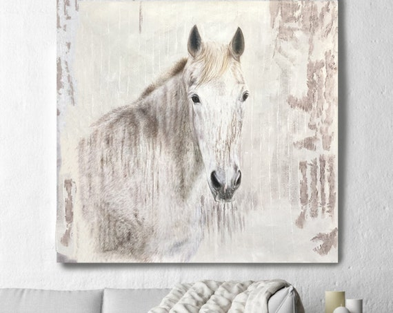 """White Beauty Rustic Horse Oil Painting on Canvas, Equestrian 58 WX58"""" H, Heavy Textured Horse Painting on Canvas, Equestrian Horse Portrait"""