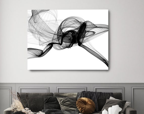 Fight 45H x 60W inch, Innovative ORIGINAL New Media Abstract Black And White Painting on Canvas Minimalist Art