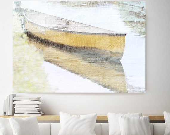 Yellow wood boat, Rustic Boat Art, Beach Decor, Boat, Coastal Wall Canvas Art Print, Fishing Boat, Seascape Art, nautical, ocean, beach Art