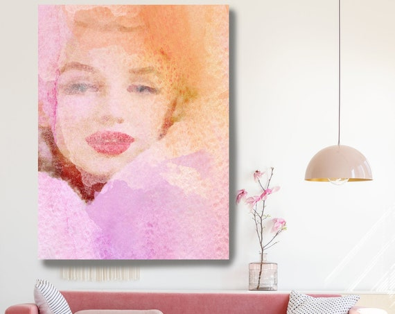 Lady In Rose Cloud, Figurative painting, Merlin, Woman painting print, Sensual woman print, Modern wall art, Pink Portrait