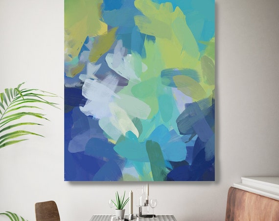 Large Abstract Green Blue painting Canvas, Abstract Canvas Print Large Modern Abstract Wall Art, Abstract Painting