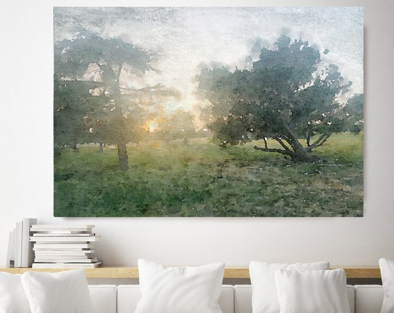 Sunrise Through The Trees 2, watercolor green landscape painting Watercolor Landscape Art