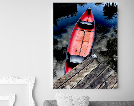 Red Old Wooden Boat Rustic Boat Photography Beach Decor Coastal Wall Canvas Art Print, Fishing Boat, Seascape Art, nautical, Boat wall art