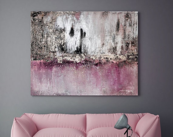 Silver Pink mAuve Black Abstract Painting Modern Art Abstract Painting Extra Large Silver Painting Extra Large Abstract Canvas Print