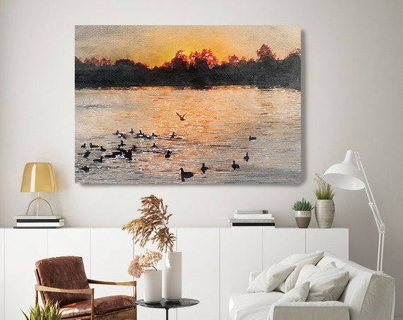 Sunset seascape art, coastal watercolor landscape painting Watercolor Canvas Art Print Sunset painting on canvas, Silence of the Nature 1