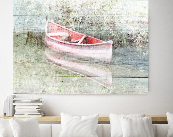 White Pink wood boat, Rustic Boat Art, Beach Decor, Boat, Coastal Wall Canvas Art Print, Fishing Boat, Seascape Art nautical ocean beach Art