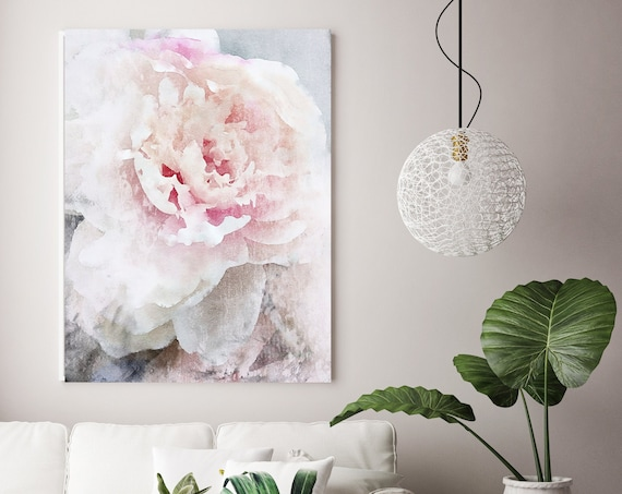 White Pink Peony Watercolor Painting Print, watercolor peony, watercolor floral, peony canvas print, peony gift, Blushing Beauty shabby chic