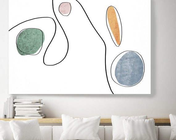 Abstract Thoughts 5. Abstract Line Art Canvas Print, Blue Green Modern Minimalist Abstract Wall Art Canvas Print Textured Artwork
