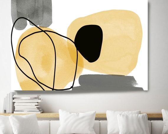 Yellow Black Watercolor. Line Art Modern Gray Yellow Canvas Art Print Scandinavian print Minimalist abstract Wall decor Minimalist Art