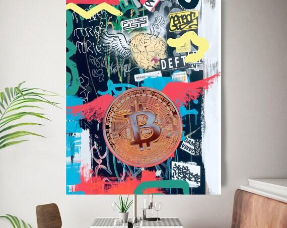 Bitcoin Street Art, Cryptocurrency Bitcoin Graffiti, Art Painting Print on Canvas, Bitcoin Artwork Canvas Print