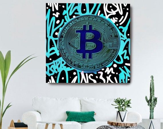 Blue Bitcoin Pop Art Digital Currency Canvas Print, Cryptocurrencies Textured Art, Cryptocurrency Bitcoin Graffiti, Print on Canvas