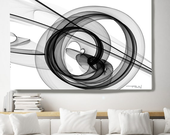 Abstract Black and White 18-04-01. New Media Abstract Black and White Canvas Art Print, Canvas Art Print