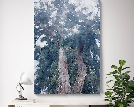 Trees Wall Art, Trees Canvas Print, Trees Large Wall Decor Trees Canvas Forest Wall Art Scenery Nature Forest Trees, wood in dark palette 3