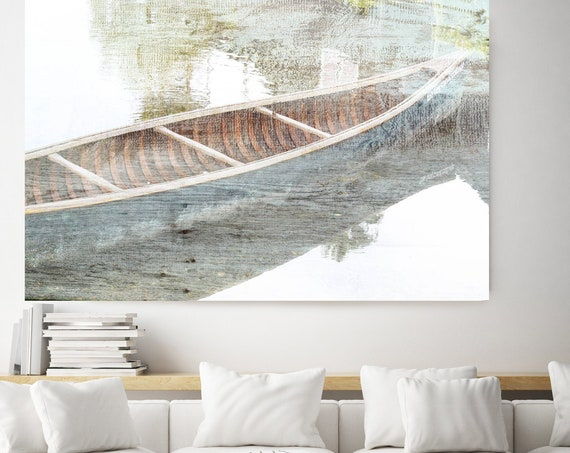 Wooden boat Canvas Art, Rustic Boat Art Beach Decor Coastal Wall Canvas Art Print, Fishing Boat, Seascape Art, nautical, Boat wall art